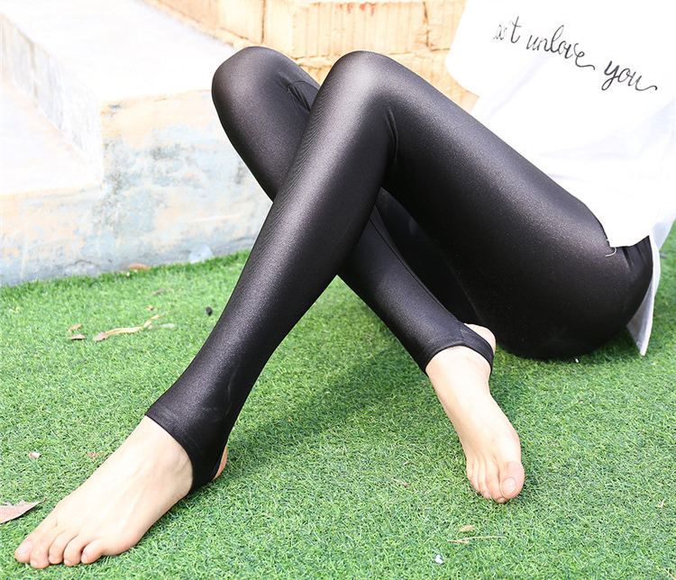Portugal Gloss Super Elastic Skinny Leggings Sexy Lace Chinlon Shiny Luster Feet Pants 9cent Mid-Calf Stirrup Pantalons 2017LG72