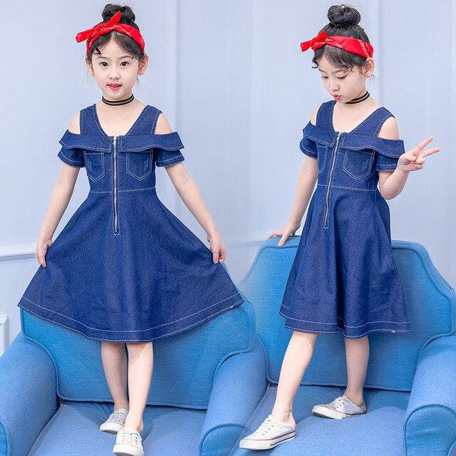 96908fc0a8 New Summer 2018 Girls Blue Denim Dress Off Shoulder Childrens Party Dress  Kids Jeans Zipper Design
