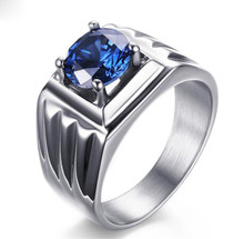 Blue Zircon Rings Vintage Silver Plated Crystal Ring For Men Big Square Stone Finger Ring Male Men Jewelry(China)