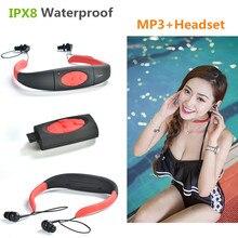 Nueva Askmeer 3 M Impermeable Sport Stereo 4 GB Auriculares MP3 Player con Radio FM Recargable Mp3 Auriculares Música natación Surf
