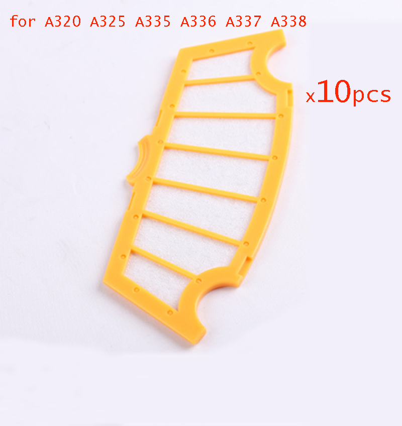 10 pcs /lot filter for A325 A335 A336 A337 A338 A320 spare parts Robot vacuum cleaner hepa filter free shipping for cleaner a320 a325 a330 a335 a336 a337 a338 spare part for robot vacuum cleaner rubber brush side brush vacuum cleaner parts