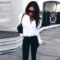 2017 Women White Sexy V Neck Blouse Back Bandage Long Sleeve Shirt Loose Casual Tops Camisas
