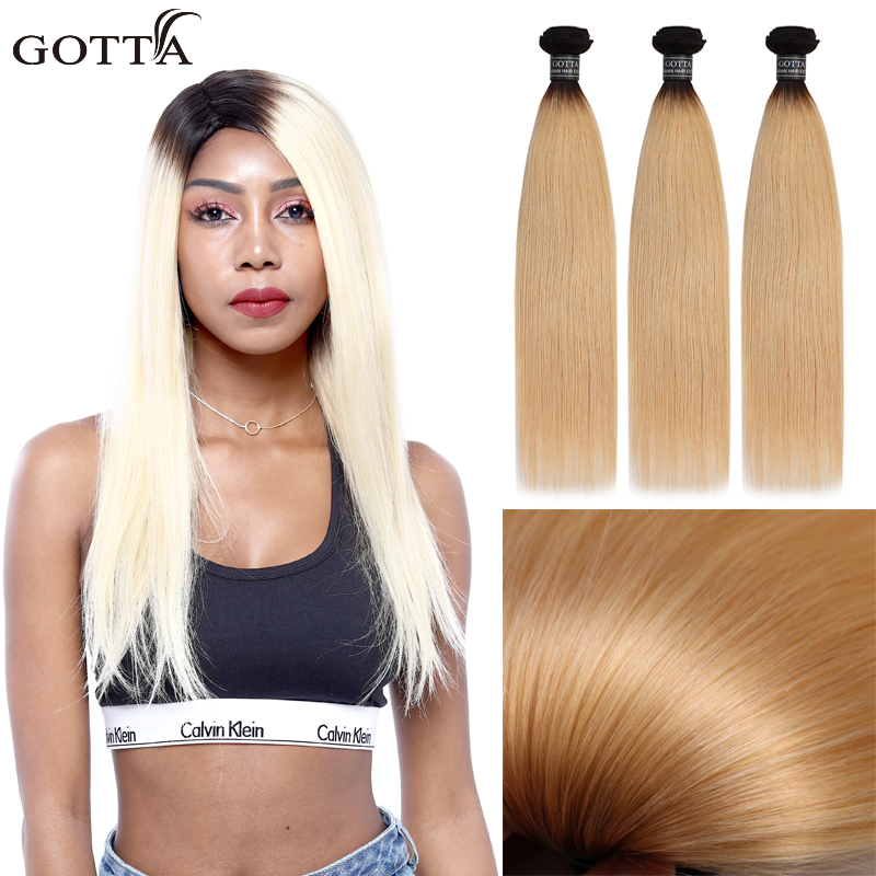 GOTTA T1B/613 Silk Straight Blue Color Ombre Hair Bundles 100% Virgin Human Hair Extensions Deep Blue Hair ...