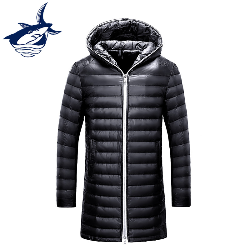 Tace & Shark Brand Long Duck Down Jacket Men Ultra Thin Down Jacket Hat Fashion Slim Fit Winter Ultra-light Men's Long Down Coat