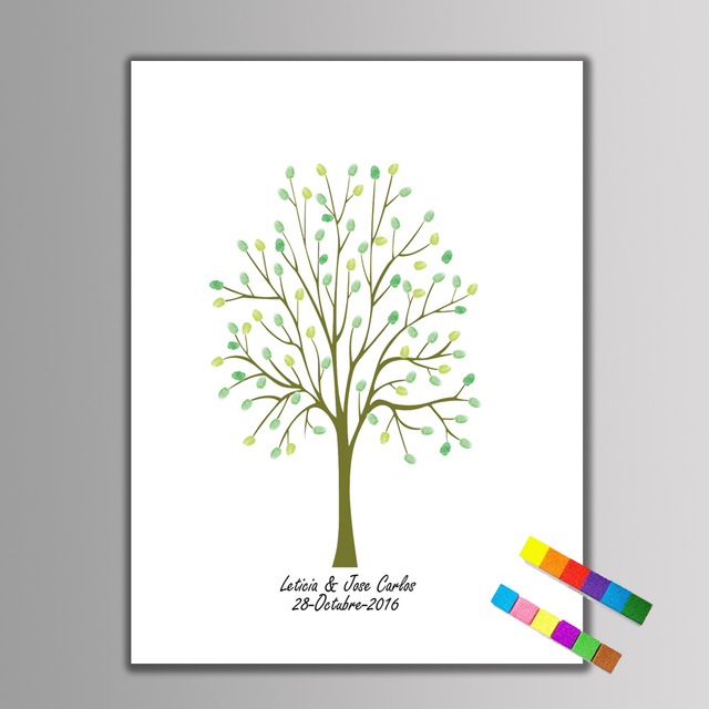 1 Set Personalised Fingerprint Tree Guest Book Canvas Painting ...