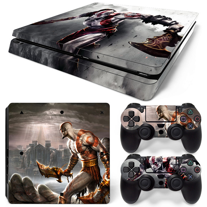 god of fighting war Decal Vinyl Protective for PS4 slim skin sticker console + 2 wireless controller covers #TN-P4Slim-0159 image