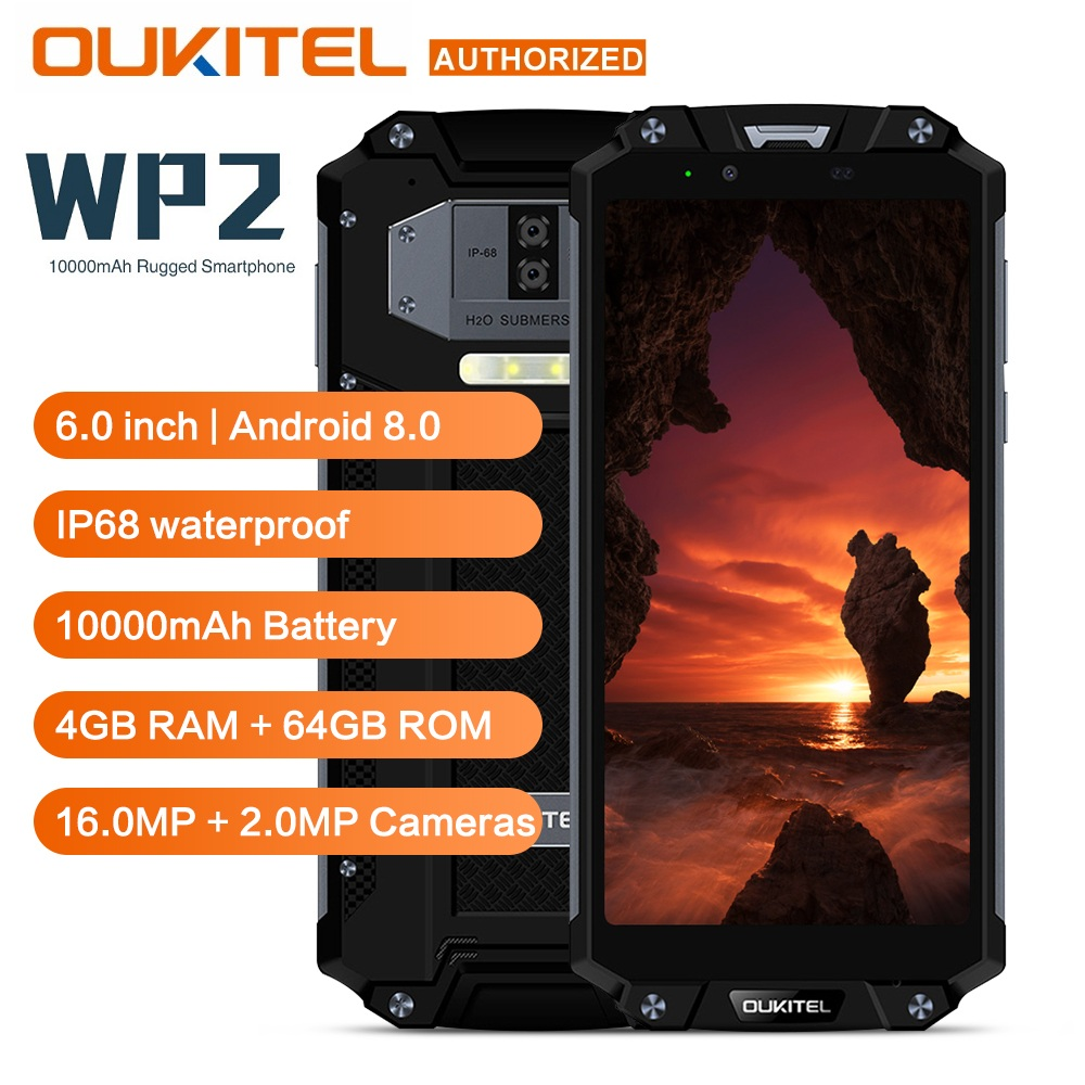 OUKITEL WP2 IP68 Waterproof Dust Shock Proof Mobile Phone 4GB 64GB MT6750T Octa Core 6.0 18:9 10000mAh Fingerprint SmartphoneOUKITEL WP2 IP68 Waterproof Dust Shock Proof Mobile Phone 4GB 64GB MT6750T Octa Core 6.0 18:9 10000mAh Fingerprint Smartphone