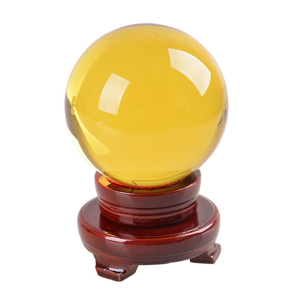 미국 80 미리 메터 희귀 노란색 아시아 석영 풍수 볼 크리스탈 볼 구 패션 테이블 장식 행운의 공
