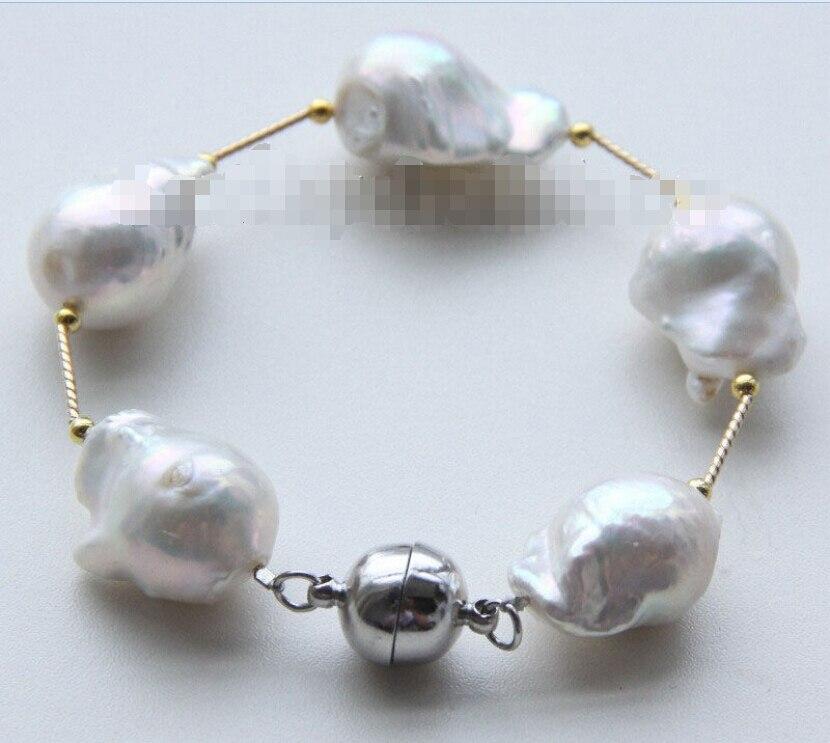 >NEW 8 29mm baroque white Reborn keshi pearls bracelet magnet clasp j9495>NEW 8 29mm baroque white Reborn keshi pearls bracelet magnet clasp j9495