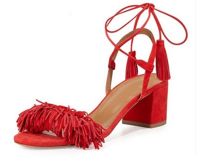 2017 Sexy Women Red Black Suede Fringe Decoration Cross-Tied OpenToe Sandals Summer Fashion High Square Heel Ankle Strap Shoes armoire summer hot sales women sandals red black beige blue ladies sexy high heel shoes cross tied ahs 2 plus big size 31 43