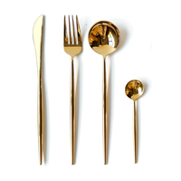 Good Mirror Gold Cutlery Set 24 Pieces Stainless Steel Dinner Set Knives Forks Scoops Cubiertos Metal Tableware Set for 6person