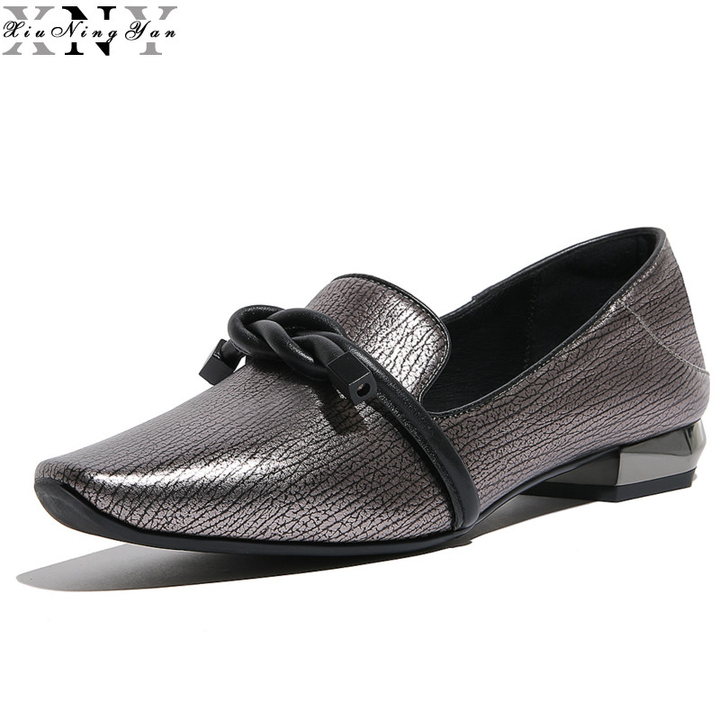 2017 British Style Genuine Leather Women Oxfords Slip on Shoes Woman Fashion Square Toe Women Shoes Loafers Shoes for Women 1/15 qmn women genuine leather flats women square toe brogue shoes woman typical british style real leather oxfords 34 40