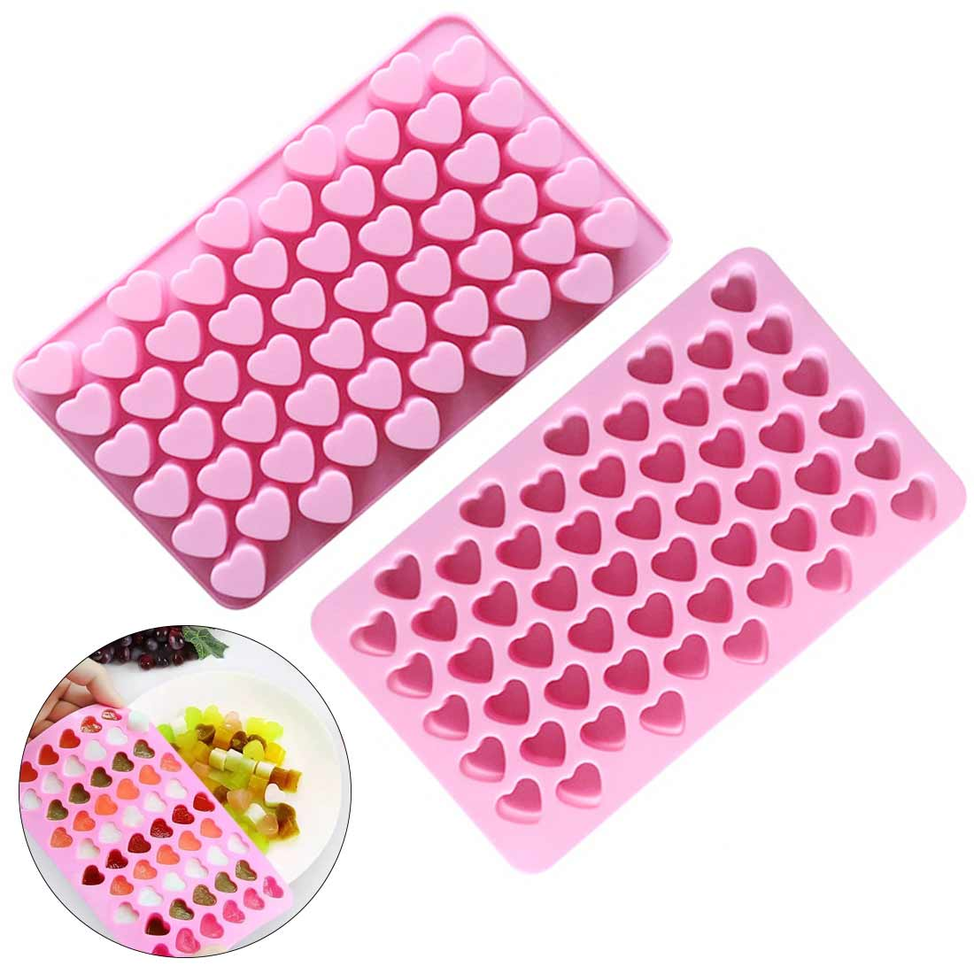 Silicone Chocolate Molds 3D Heart Shape Bakeware Candy Gummy Tray Cake Moulds Easy Demoulding  For Baking Letters Flower