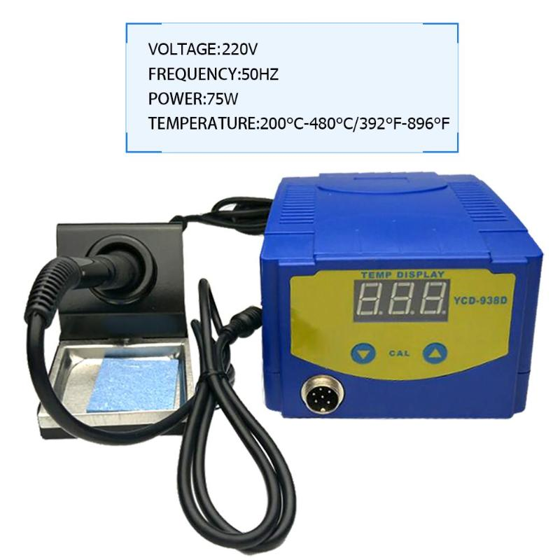 938D 200V 75W Digital Display Soldering Rework Solder Iron Station Timer Smart Dormancy Lead Free ESD Safe Welding Equipment esd safe 75w soldering handpiece t245a solder iron handle for di3000 intelligent soldering station
