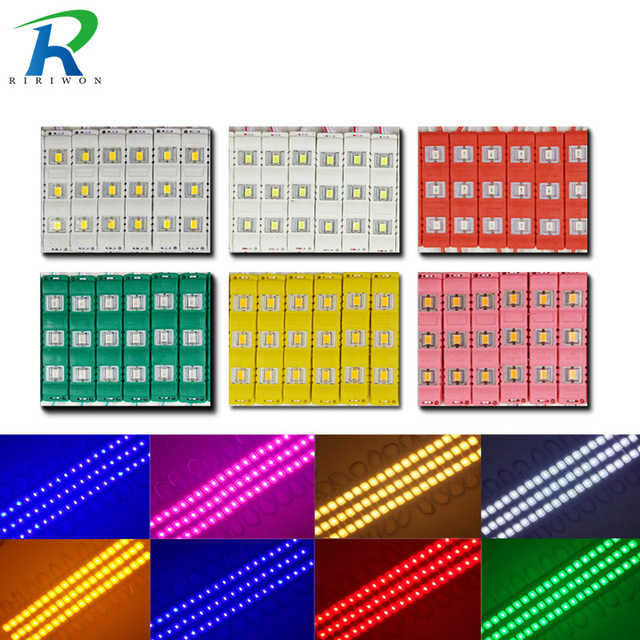 20 ps 10 ps IP65 5730 3 LED מודול עמיד למים חם לבן, לבן טהור, אדום, ירוק, כחול, ורוד, צהוב אור הזרקת עבור DC 12 v
