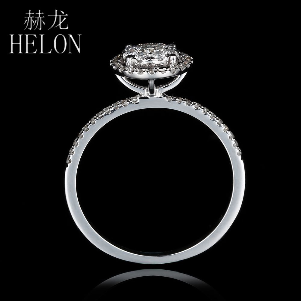 HELON Loving! Solid 18K White Gold 6.5mm Diameter SI/H Full Cut Natural Diamonds Womens Engagement Wedding Party Gif Fine Ring