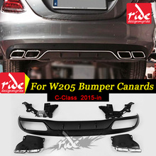 For Mercedes Benz W205 Rear Bumper Diffuser + 4-outlet Chrome Exhaust Endpipe Fit C Class W205 C63 C180 C200 C250 Sedan 2015-in