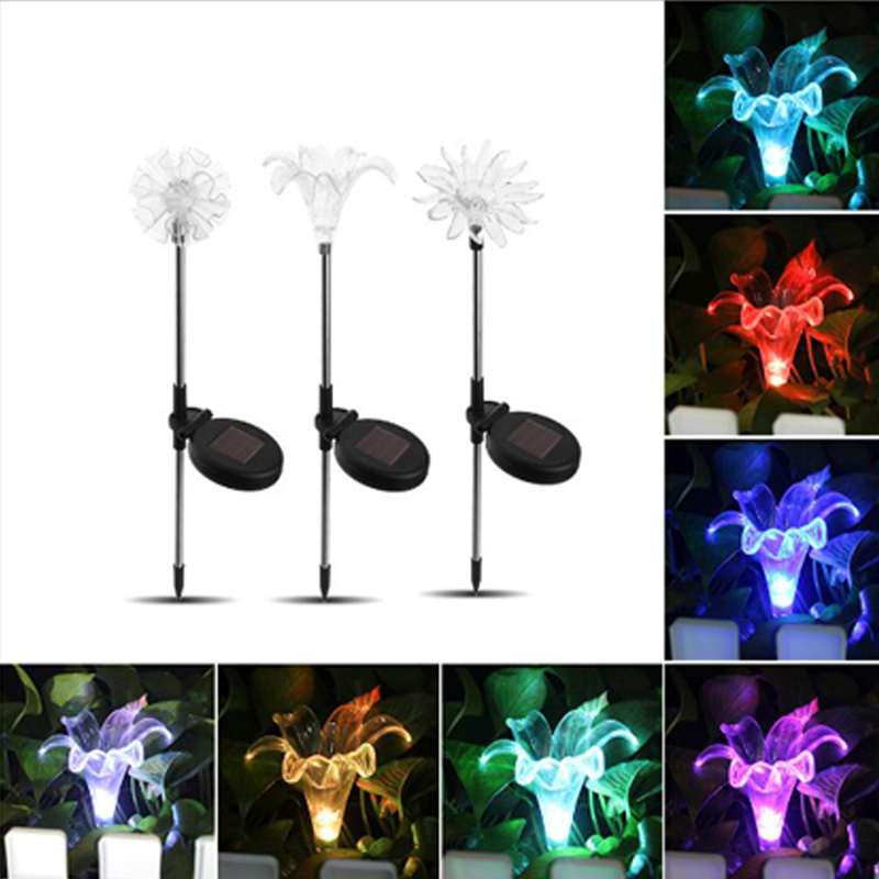 Color Changing LED Garden Solar Light Outdoor Waterproof Mushroom/Lily Solar LED for Garden Decoration Path Lawn Solar Lamp