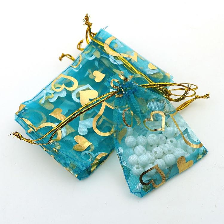 7x9 cm Light Blue Coração Bronzeamento Organza Jóias Sacos Populares Barato Organza Malotes Embalagens Para Doces 100 pçs/lote atacado