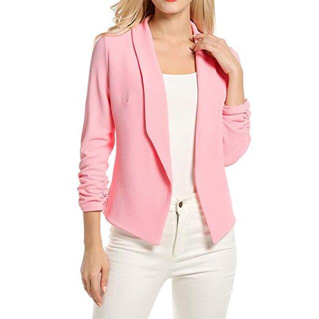 MUQGEW Female Jacket Manteau Femme Hiver Women 3/4 Sleeve Blazer Open Front Short Cardigan Suit Jacket Work Office Coat 4