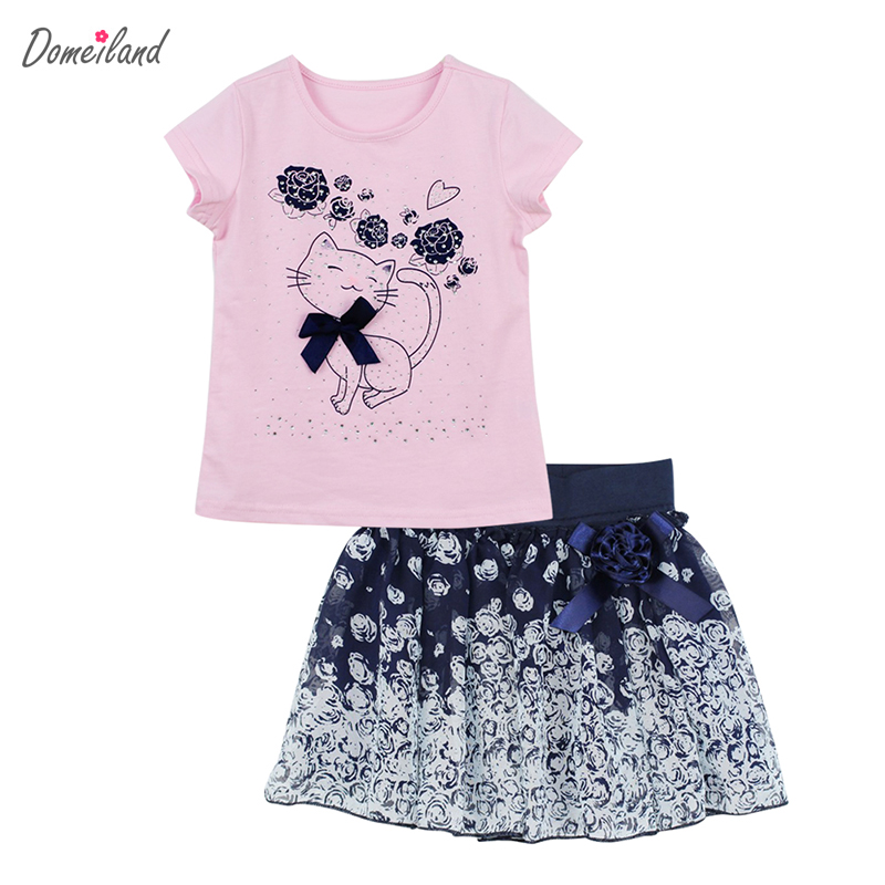 2017 fashion domeiland summer children clothing sets kids girl outfits cats short sleeve cotton shirts with skirt baby clothes