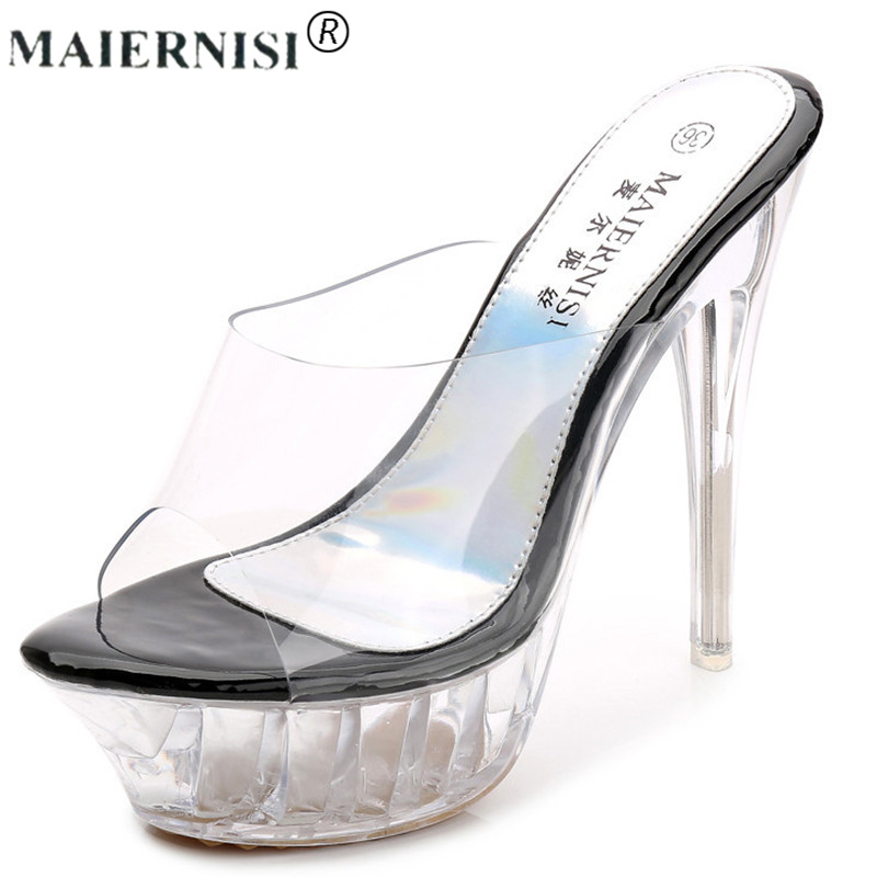 2019 summer Platform sexy Slingback mules clear pvc sandals Shoe for  Women Large Size 43 42 High heel Big Pump Lady female Plus2019 summer Platform sexy Slingback mules clear pvc sandals Shoe for  Women Large Size 43 42 High heel Big Pump Lady female Plus