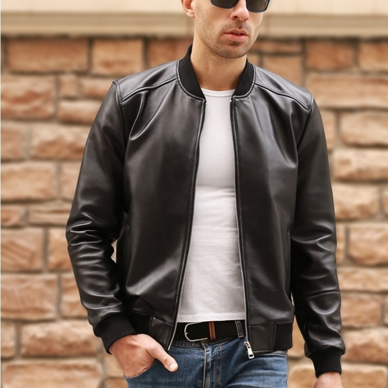 Large Size 5XL Sheepskin Slim Aviation Genuine Leather Bomber Jacket Men Real Leather Flights Jacket Black Aviator Pilot Coats|Genuine Leather Coats| - AliExpress