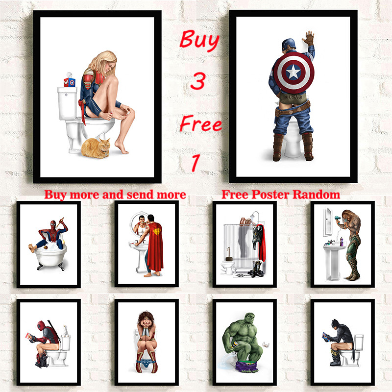 Super Hero 10  funny things picture Wall Art  Painting Nordic Poster Art Prints Wall Pictures Toilet Bathroom Wc Decor Frameless bicycle helmet