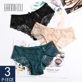 BANNIROU Sexy Lace Briefs Woman Panties Underwear Lady 3 Pieces Breathable Female For Women