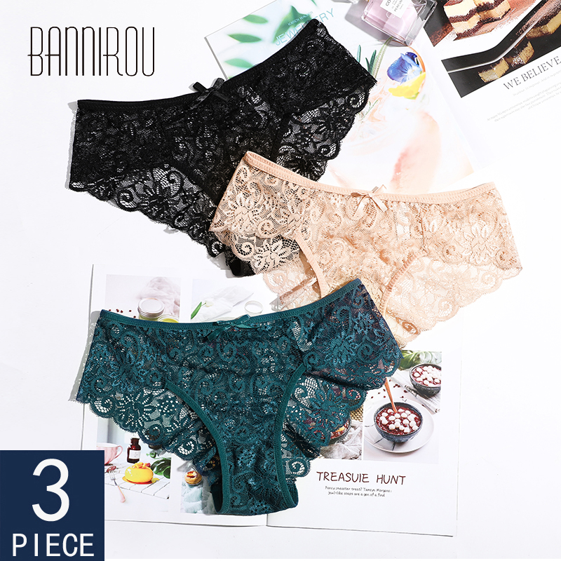 Woman   Panties   Underwear Briefs Lady 3 Pieces Sexy Lace Breathable Female   Panties   Underwear For Women Sexy Lace Briefs BANNIROU