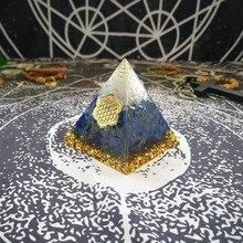Orgonit Piramidi Mefruşat ürünleri Vishuddha Çakra Zadkiel Artırmak Yaratıcılık Lapis Reçine Piramit Akıllı Takı