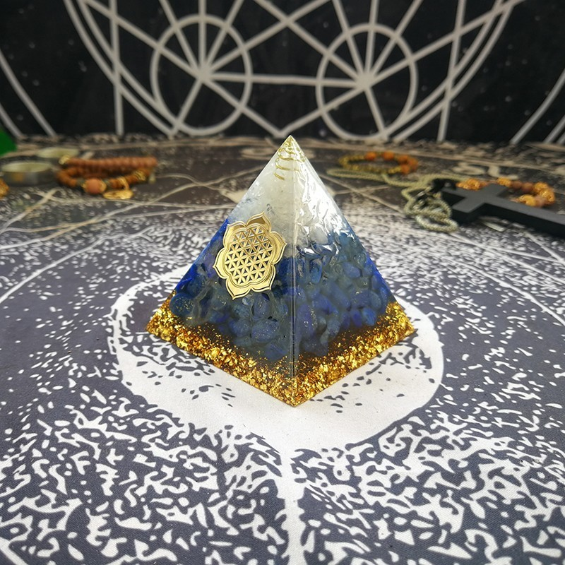 Orgonite Pyramid Furnishing Articles Vishuddha Chakra Zadkiel Increase Creativity Lapis Resin Pyramid Smart Jewelry