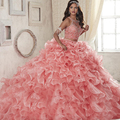 2 Piece Quinceanera Dresses Pink Scoop Organza Ball Gown Prom Dresses 2017 Sleeveless Zipper vestidos de 15 anos custom made