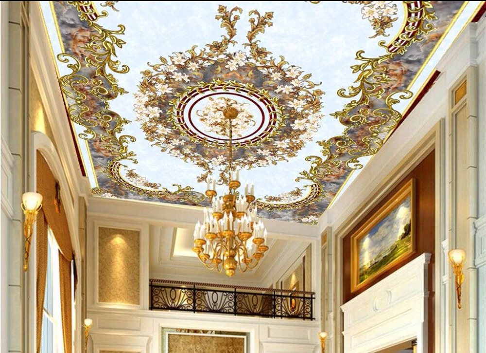 3d ceiling murals wallpaper custom photo room european for Ceiling mural wallpaper