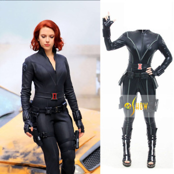The Avengers Black Widow Costume Halloween Cosplay Costume Women Official Marvel Fancy Dress Party Sexy Black Jumpsuit Full Set