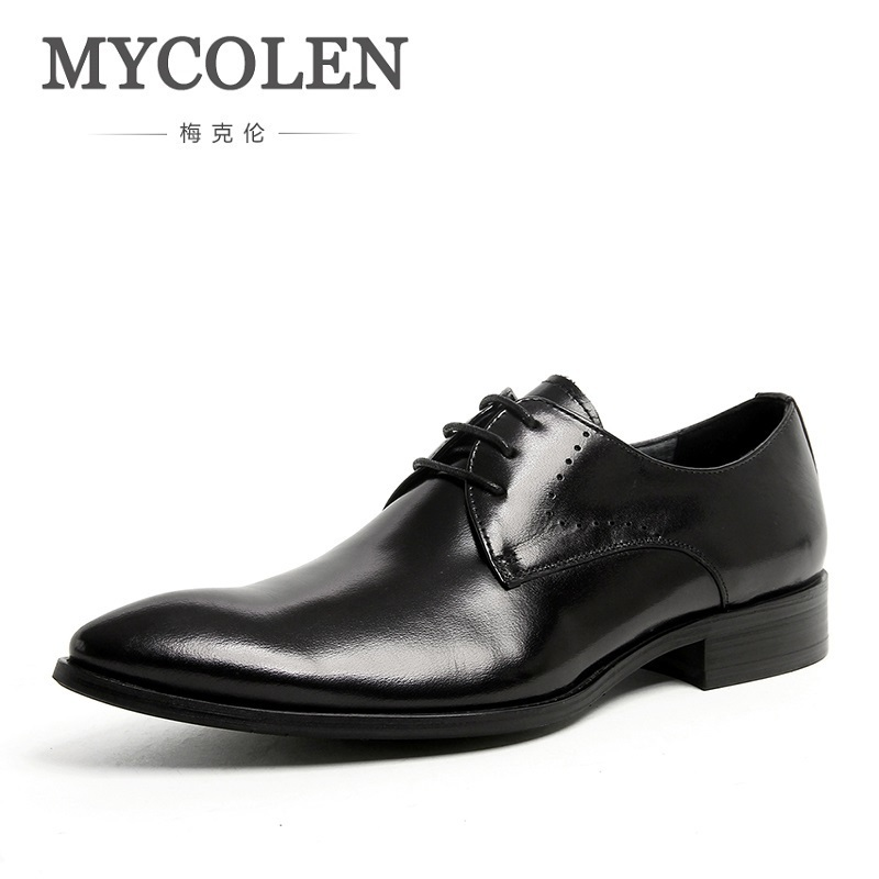 MYCOLEN Man Flat Classic Men Dress Shoes Brand Genuine Leather Shoes Mens Carved Italian Formal Oxford For Winter Herren Schuhe classic style classic mens dress shoes deep coffee color genuine leather oxford shoes for men lace up pointy loafers high heels