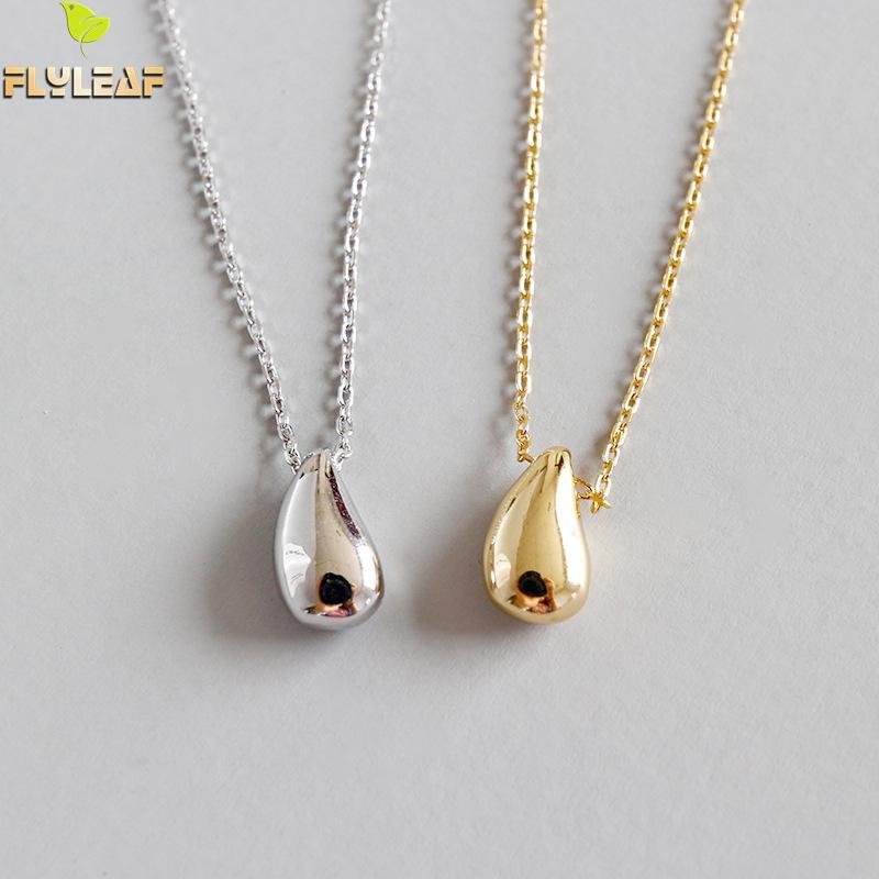2e163acc698b Flyleaf oro gotas de agua frijoles collares y colgantes para las mujeres  2018 nueva tendencia 925 plata esterlina joyería del Fasion