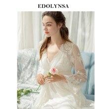 Lace Nightgowns Sleepshirts 2018 Robes Set Bathrobe Sets Sexy Nightdress Bridesmaid Robes Set Peignoir Wedding Robe Sets #H437