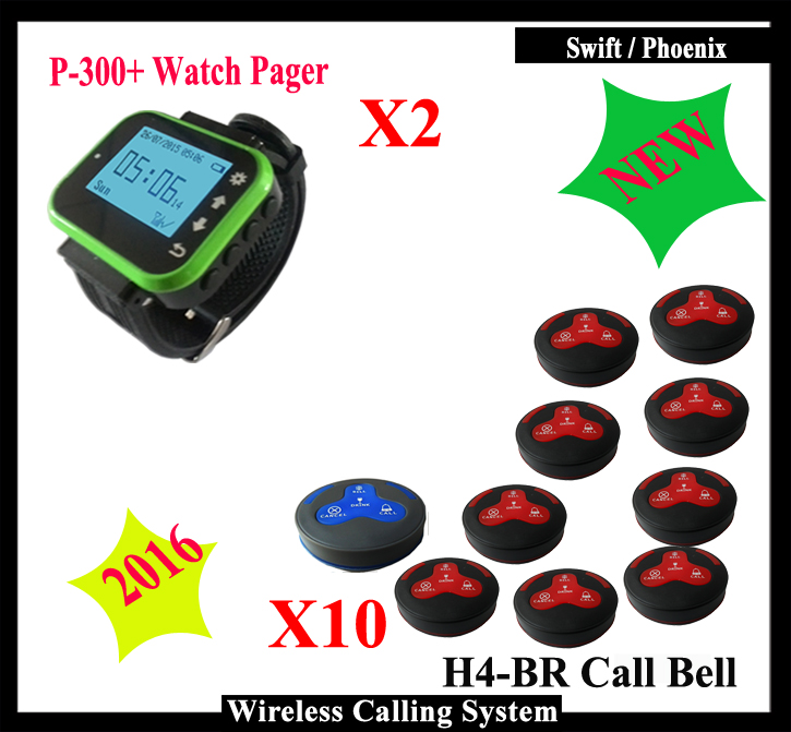 Wireless pager system for restaurant With 2pcs Waiter Pager Watch Pager and 10pcs wireless call button,DHL FREE SHIPPING restaurant pager watch wireless call buzzer system work with 3 pcs wrist watch and 25pcs waitress bell button p h4