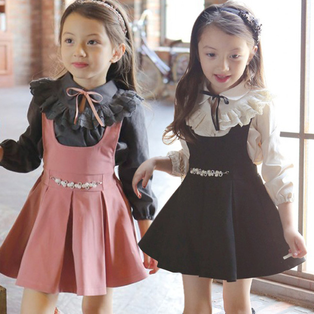 2016 Spring Children Baby Girls Dress Clothing Sets Kids Dresses Lace Collar T-Shirts+ Girl Dress 2-Pieces Sets