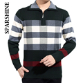 2016 New Thick Zipper Casual Men's Sweater Men Winter Fashion Mens Wool Plaid Sweater Stand Collar Pullovers