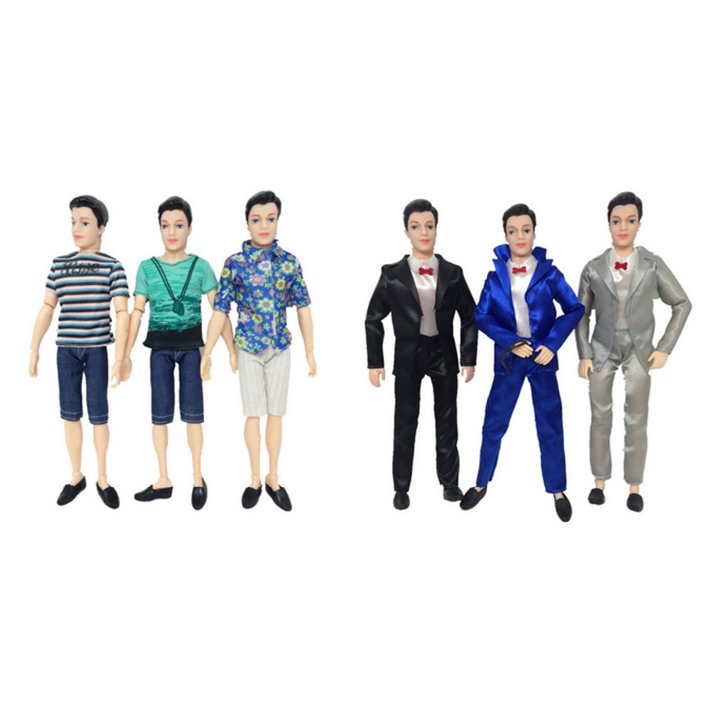 Satkago 5 Sets Fashion Casual Wear Doll Clothes Jacket Pants Outfits Accessories for Men Boy Ken Barbie Dolls Random Style