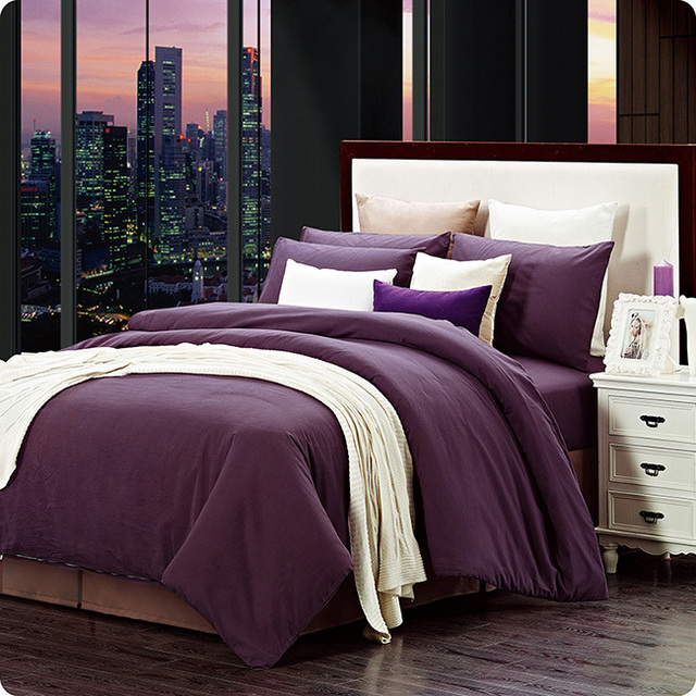 Modern Home Textile 100 Cotton Sanding Solid Dark Purple