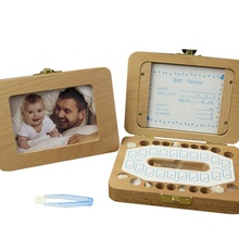 цены на English Wooden Baby Tooth Box Organizer Milk Teeth Storage Umbilical Lanugo Save Collect Baby Souvenirs Gifts  в интернет-магазинах