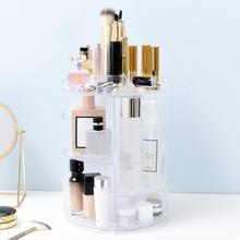360 Degree Rotating Transparent Makeup Bush Organizer Holder Rack Jewelry Acrylic Cosmetic Multi-function Storage Box