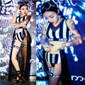 Jerry 2015 new bar DS stage costume for Dj women singer white and black stripe letter sexy mesh tailing three piece skirt suit