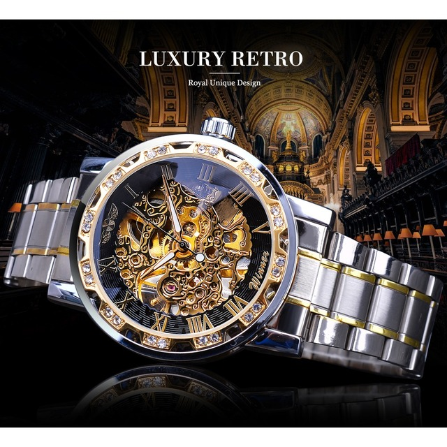 Winner Transparent Fashion Diamond Luminous Gear Movement Royal Design Men Top Brand Luxury Male Mechanical Skeleton Wrist Watch 2