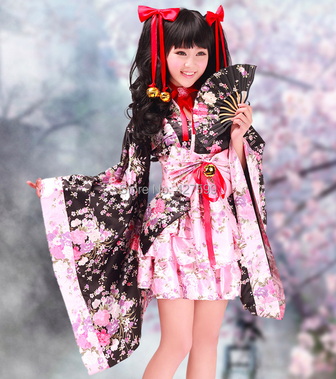 japan kawaii cherry blossom kimono sakura kimono lolita dress cosplay costume on. Black Bedroom Furniture Sets. Home Design Ideas