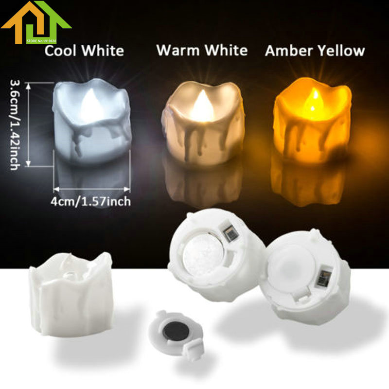 12pcs Electronic LED Tea Light Candles Flameless Flickering Smokeless Battery Powered Tealight Candles Party Wedding Decoration