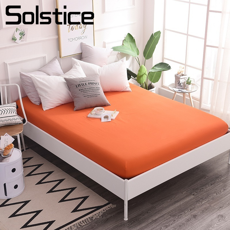 Solstice Home Textile 100% Cotton Bed Fitted Sheet Orange Solid Color Mattress Cover Twin King Single Double Custom Size 180*220